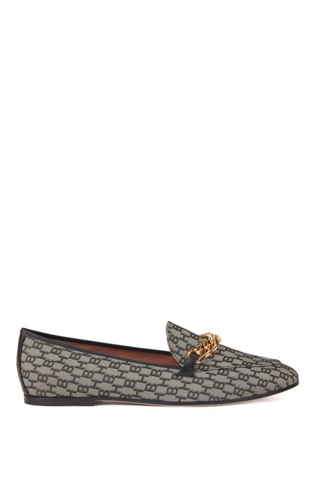 Monogram-fabric loafers with gold chain and leather trims, Black