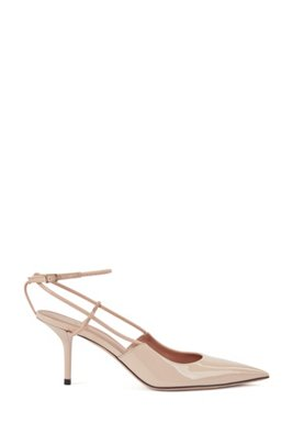 Heeled slingback pumps in patent and calf leather, Light Beige