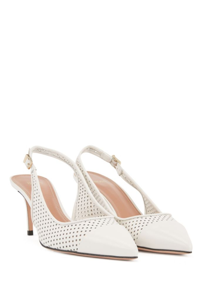 Slingback pumps in calf leather with laser-cut uppers
