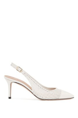 Slingback pumps in calf leather with laser-cut uppers, White