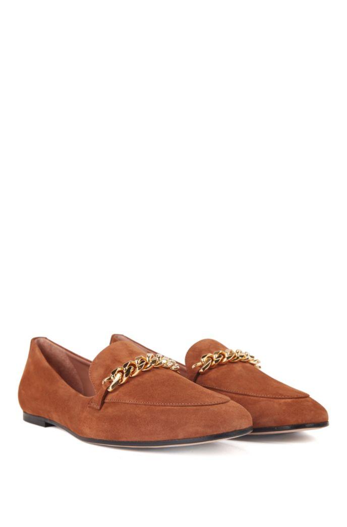 In Italien gefertigte Loafers aus Veloursleder mit goldfarbenem Ketten-Detail