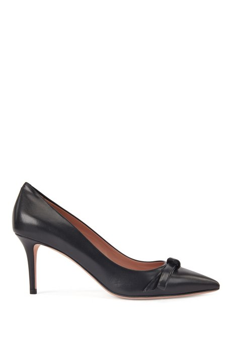 Heeled pumps in Italian leather with bow detail, Black