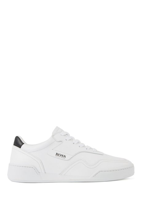 Low-top trainers in Italian calf leather, White