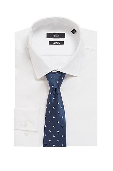 防水真丝材质意大利制造图案装饰领带,  401_暗蓝色