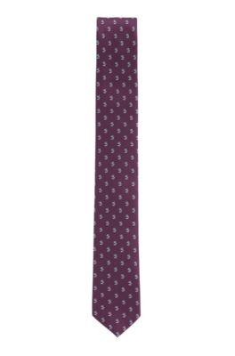 Cravatta a fiori in seta jacquard idrorepellente, Viola scuro