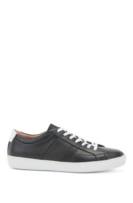 Low-profile trainers in Italian leather with monogram panel, Black