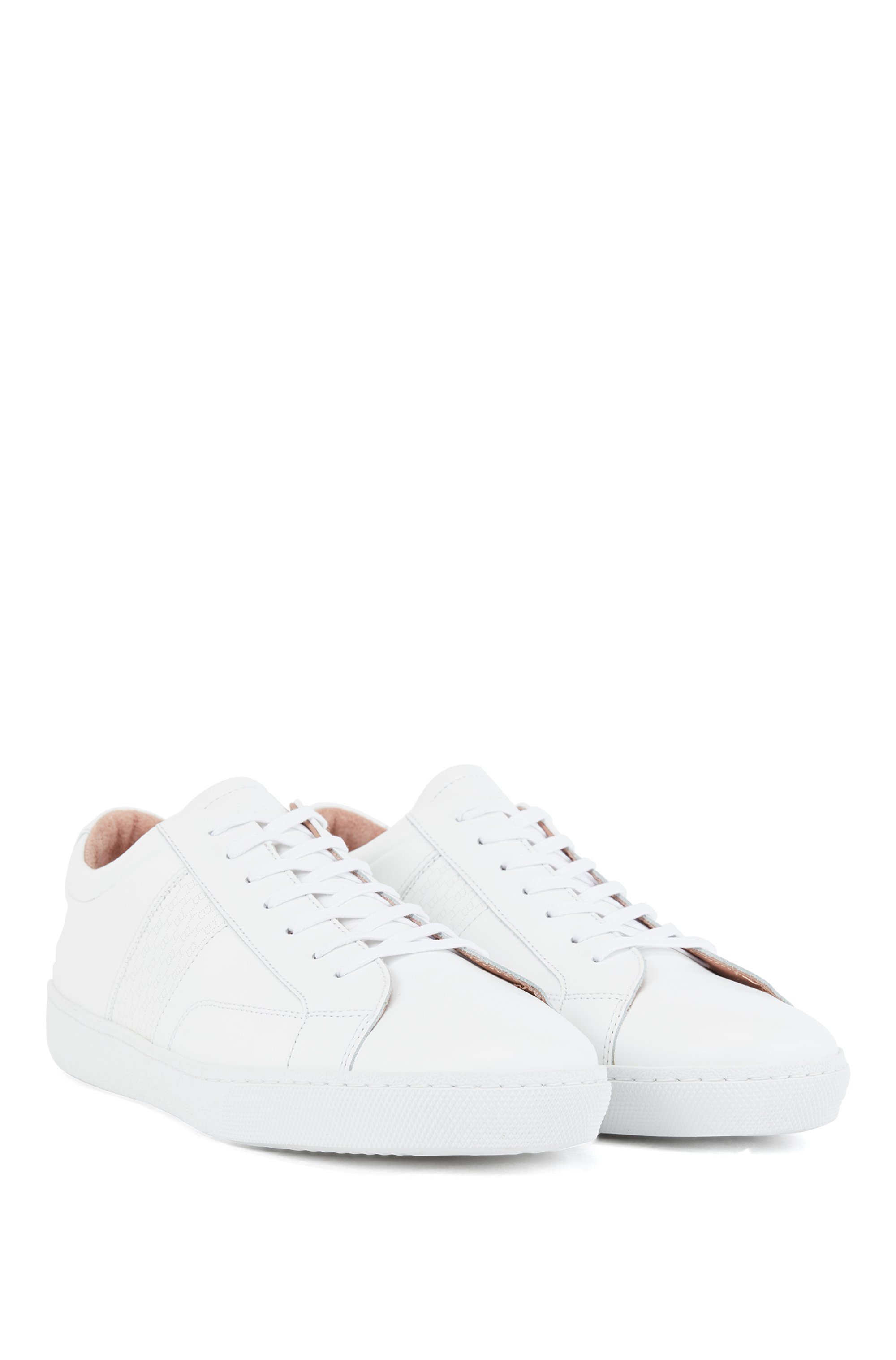 Low-profile trainers in Italian leather with monogram panel