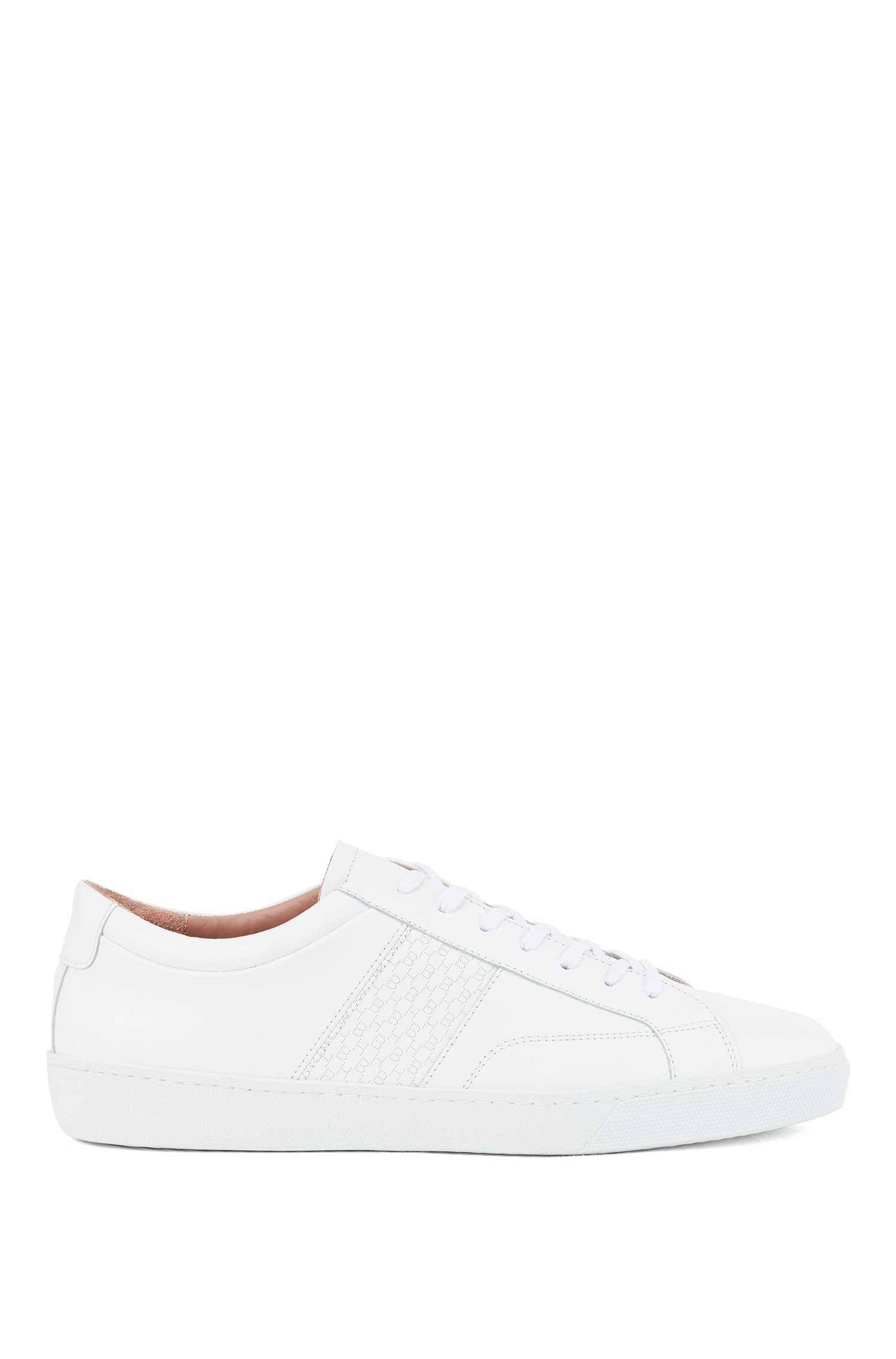 Low-profile trainers in Italian leather with monogram panel, White