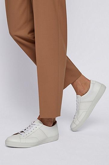 侧面饰有字母图案的意大利皮革低帮运动鞋,  100_白色