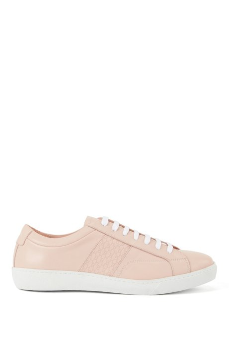 Low-profile trainers in Italian leather with monogram panel, light pink