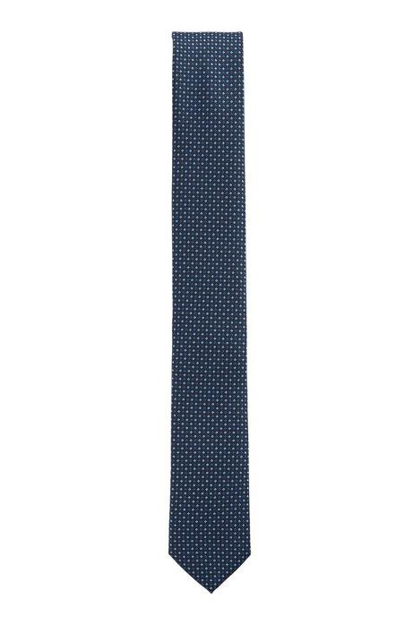 Water-repellent tie in micro-patterned silk jacquard, Dark Blue
