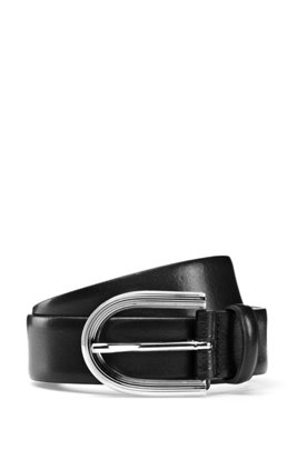 Smooth-leather belt with gold-effect buckle, Black