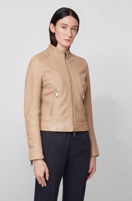 Biker-style leather jacket with jersey lining, Beige