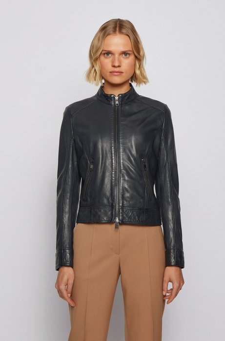 Biker-style leather jacket with jersey lining, Open Blue