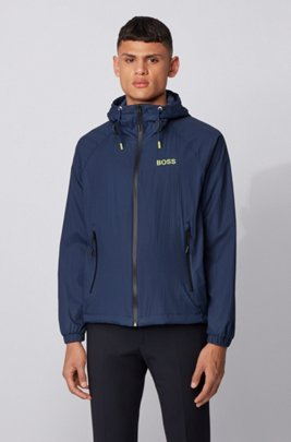 Water-repellent windbreaker jacket in lightweight crinkle fabric, Dark Blue