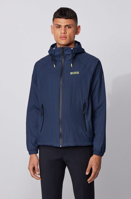 Water-repellent windbreaker jacket in lightweight crinkle fabric, Dark Blue