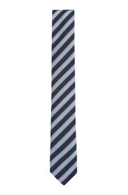 Cravate déperlante en jacquard de soie à rayures en diagonale, Bleu vif