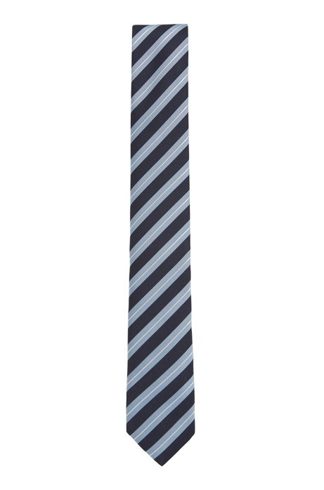 Water-repellent tie in diagonal-striped silk jacquard, Light Blue