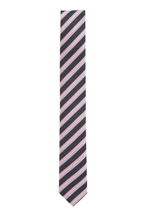 Water-repellent tie in diagonal-striped silk jacquard, light pink