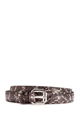 Snakeskin-effect belt in calf leather, Patterned