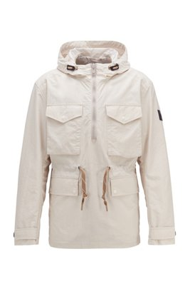 Hooded windbreaker jacket in lightweight crinkle fabric, White