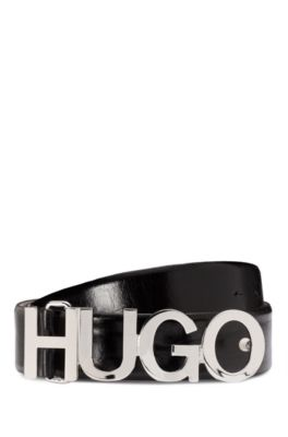 Glossy-leather belt with polished-metal logo buckle, Black