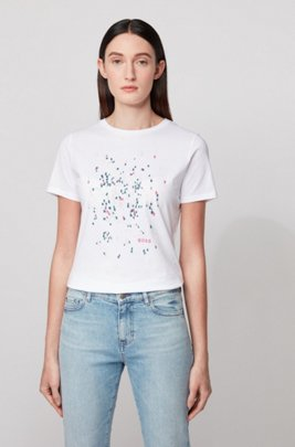 Crew-neck T-shirt in pure cotton with exclusive artwork, White
