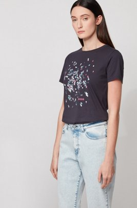 Crew-neck T-shirt in pure cotton with exclusive artwork, Light Blue