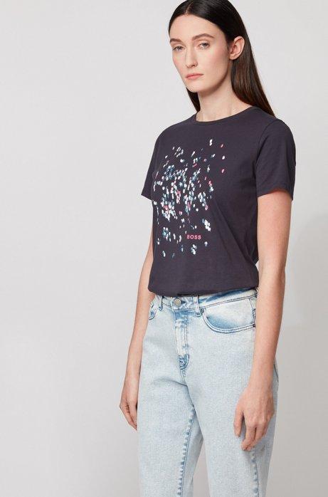 Camiseta de cuello redondo de puro algodón con ilustración exclusiva, Celeste