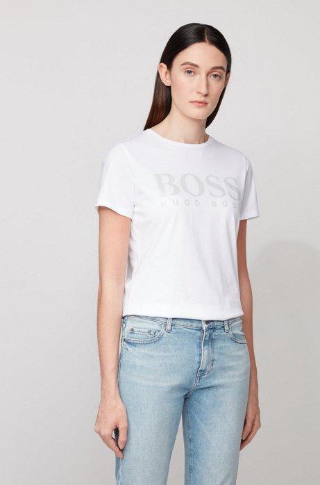 T-Shirt aus reiner Baumwolle mit Logo-Print in Glanzoptik, Weiß
