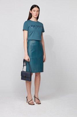 Pure-cotton T-shirt with gloss-effect logo print, Dark Blue