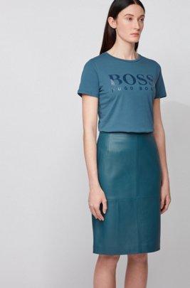 T-shirt van zuivere katoen met logoprint met glanseffect, Donkerblauw