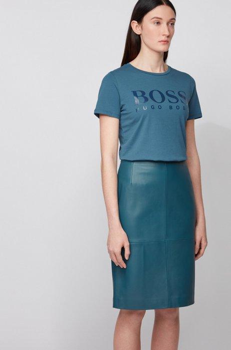 T-shirt in puro cotone con logo stampato effetto lucido, Blu scuro