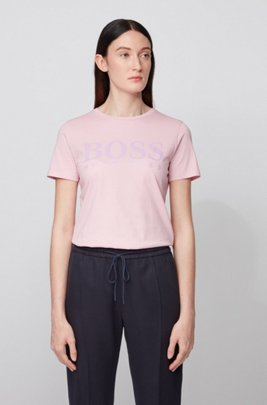 Pure-cotton T-shirt with gloss-effect logo print, Light Purple