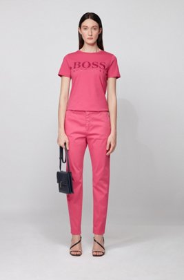 Pure-cotton T-shirt with gloss-effect logo print, Pink