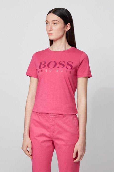 T-shirt in puro cotone con logo stampato effetto lucido, Rosa
