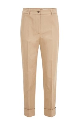 Relaxed-fit cropped trousers in stretch-cotton twill, Beige