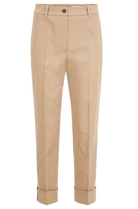 Pantaloni relaxed fit alla caviglia in twill di cotone elasticizzato, Beige
