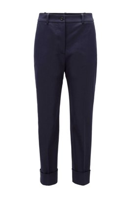 Relaxed-fit cropped trousers in stretch-cotton twill, Light Blue