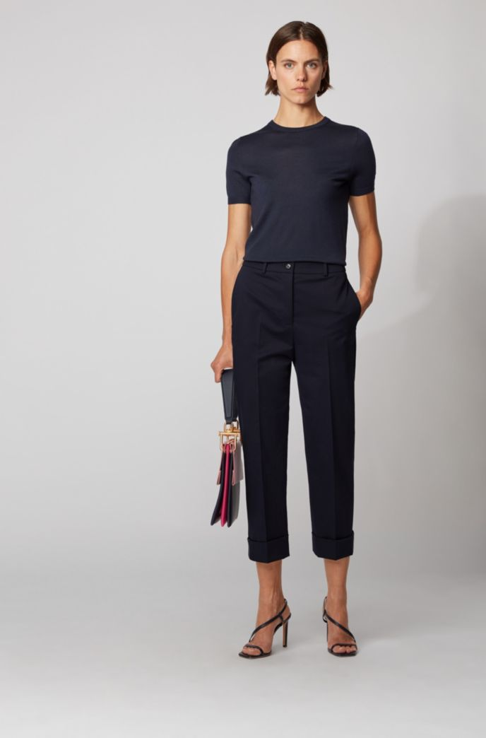 Relaxed-fit cropped trousers in stretch-cotton twill