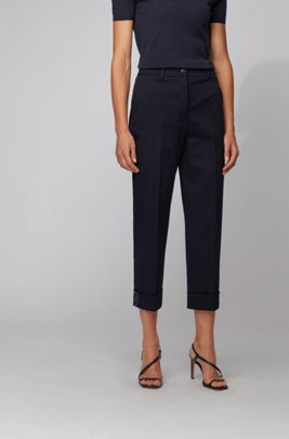 Pantalon raccourci Relaxed Fit en twill de coton stretch, bleu clair