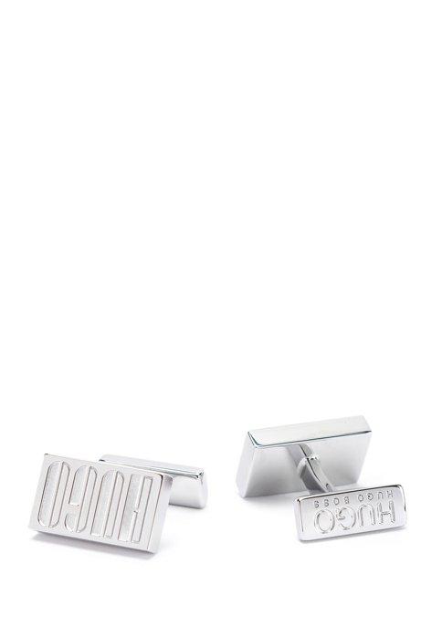 Manschettenknöpfe aus poliertem Messing mit Logo der neuen Saison, Silber