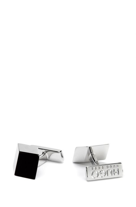 Cubistic cufflinks in brass with coloured face, Black