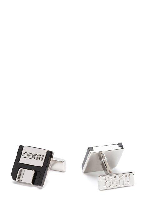 Manchetknopen van messing en email met gestileerd oppervlak, Zilver