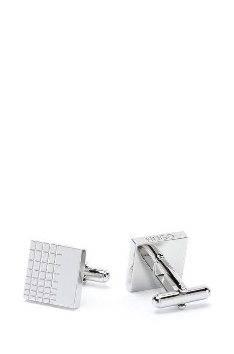 Grid-engraved cufflinks in polished brass, Silver