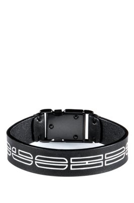 Italian-leather cuff with new-season logo print, Black