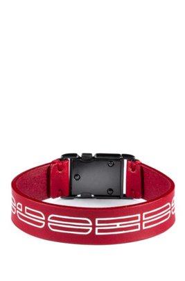 Italian-leather cuff with new-season logo print, Red