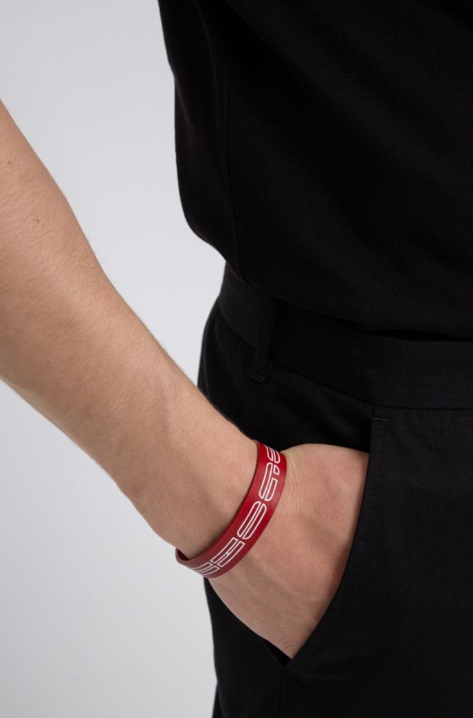 Italian-leather cuff with new-season logo print