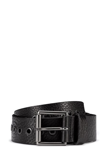 Grained-leather belt with metal eyelets, Black