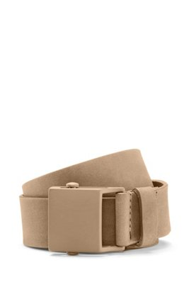 Nubuck-leather belt with black-varnished buckle, Khaki